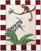 Zebra & Monkey Gallery Wrapped Stretched Giclee Canvas