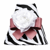 Zebra Print Night Light with Dark Pink Bow Magnet & White Ribbon Rose Magnet