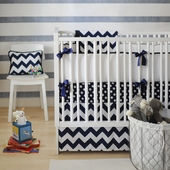 Zig Zag Navy 2-Piece Crib Bedding Set