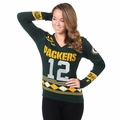 Aaron Rodgers (Green Bay Packers) Glitter NFL Player Women's V-Neck Sweater