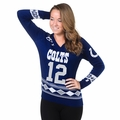 Andrew Luck (Indianapolis Colts) Glitter NFL Player Women's V-Neck Sweater