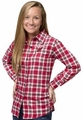 Arizona Cardinals NFL Women's Wordmark Long Sleeve Flannel Shirt