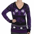 Baltimore Ravens Big Logo (Women's V-Neck) NFL Ugly Sweater