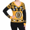 Boston Bruins Big Logo (Women's V-Neck) NHL Ugly Sweater