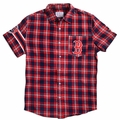 Boston Red Sox MLB Wordmark Flannel Short Sleeve Shirt by Klew