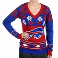Buffalo Bills Big Logo (Women's V-Neck) NFL Ugly Sweater
