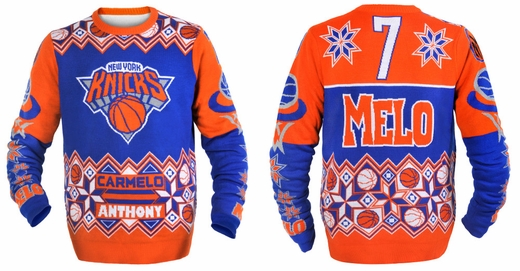 ... including the Knicks logo on the front and Anthony s nickname (Melo)  and jersey number (7) on the back. Not to be overlooked was the snowflake  trim. 703caf3f7