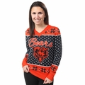 Chicago Bears 2016 Big Logo Women's V-Neck Ugly Sweater by Forever Collectibles