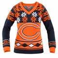 Chicago Bears (Women's V-Neck) NFL Ugly Sweater