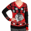 Chicago Blackhawks  Big Logo (Women's V-Neck) NHL Ugly Sweater