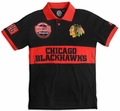 Chicago Blackhawks NHL Cotton Wordmark Rugby Short Sleeve Polo Shirt