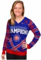 Chicago Cubs 2016 World Series Champions Women's Ugly V-Neck Sweater