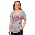 Chicago Cubs 2016 World Series Champions Women's Gray V-Neck Tee