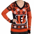 Cincinnati Bengals Big Logo (Women's V-Neck) NFL Ugly Sweater