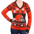 Cleveland Browns Big Logo (Women's V-Neck) NFL Ugly Sweater