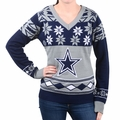 Dallas Cowboys Big Logo (Women's V-Neck) NFL Ugly Sweater