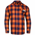 Denver Broncos NFL Checkered Men's Long Sleeve Flannel Shirt
