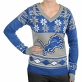 Detroit Lions Big Logo (Women's V-Neck) NFL Ugly Sweater