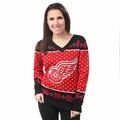 Detroit Red Wings 2016 Big Logo Women's V-Neck Ugly Sweater by Forever Collectibles