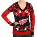 Detroit Red Wings Big Logo (Women's V-Neck) NHL Ugly Sweater