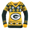 Green Bay Packers (Women's V-Neck) NFL Ugly Sweater