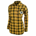 Green Bay Packers NFL Women's Wordmark Long Sleeve Flannel Shirt