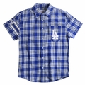 Los Angeles Dodgers MLB Wordmark Flannel Short Sleeve Shirt by Klew