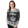 Los Angeles Kings 2016 Big Logo Women's V-Neck Ugly Sweater by Forever Collectibles