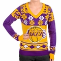 Los Angeles Lakers Big Logo (Women's V-Neck) NBA Ugly Sweater
