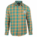 Miami Dolphins Wordmark Mens Long Sleeve Flannel Shirt