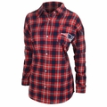 New England Patriots NFL Women's Wordmark Long Sleeve Flannel Shirt