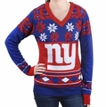 New York Giants Big Logo (Women's V-Neck) NFL Ugly Sweater