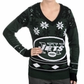 New York Jets Big Logo (Women's V-Neck) NFL Ugly Sweater