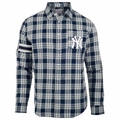 New York Yankees Wordmark Mens Long Sleeve Flannel Shirt