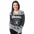 Oakland Raiders 2016 Big Logo Women's V-Neck Ugly Sweater by Forever Collectibles