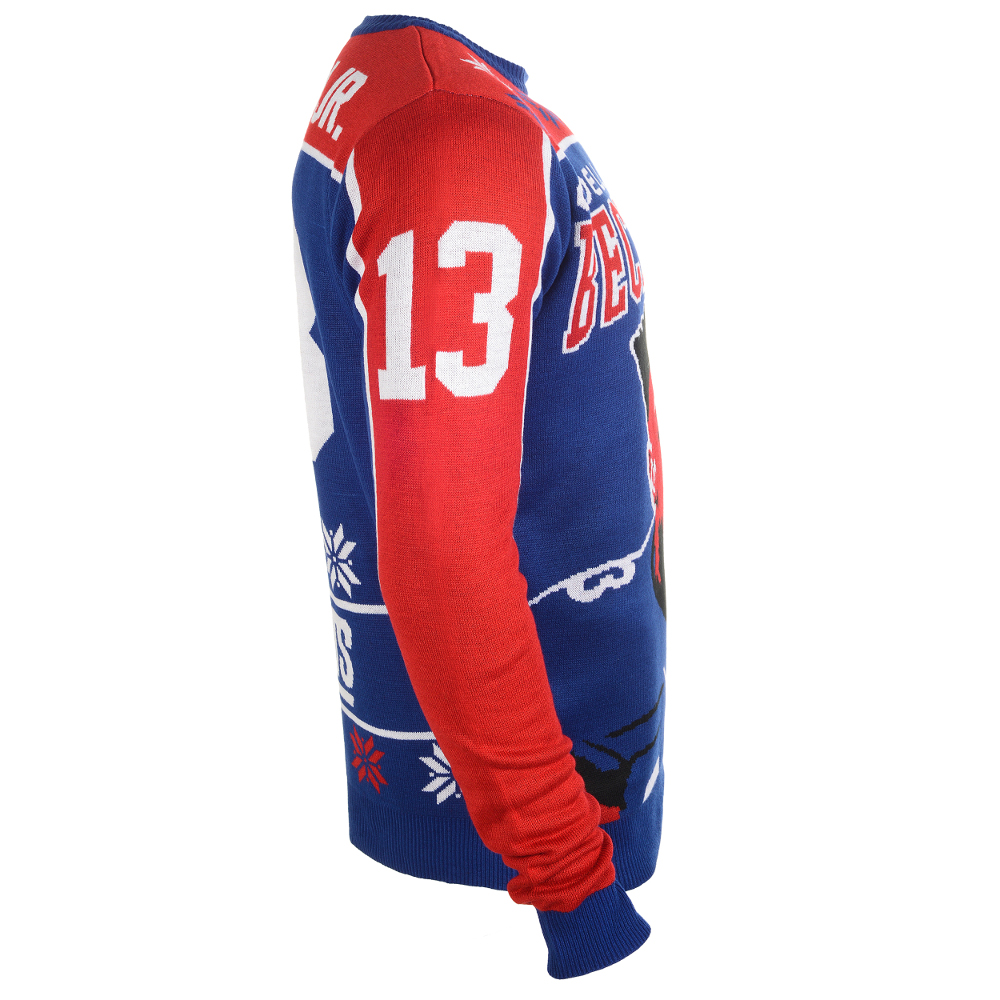 New York Giants Klew Royal Patches Crew Neck Ugly Sweater