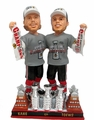 Kane/Toews (Blackhawks) Real Fabric 3X Champ T-Shirt/Hat Banner/Cup Base 2015 Stanley Cup Exclusive BobbleHead Double Set #/500