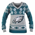 Philadelphia Eagles Big Logo (Women's V-Neck) NFL Ugly Sweater