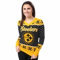 Pittsburgh Steelers 2016 Big Logo Women's V-Neck Ugly Sweater by Forever Collectibles