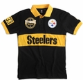 Pittsburgh Steelers NFL Cotton Wordmark Rugby Short Sleeve Polo Shirt