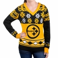 Pittsburgh Steelers Big Logo (Women's V-Neck) NFL Ugly Sweater