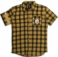 Pittsburgh Steelers  Wordmark Short Sleeve Flannel Shirt by Klew