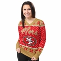 San Francisco 49ers 2016 Big Logo Women's V-Neck Ugly Sweater by Forever Collectibles