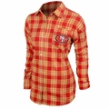 San Francisco 49ers NFL Women's Wordmark Long Sleeve Flannel Shirt