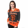 San Francisco Giants 2016 Big Logo Women's V-Neck Ugly Sweater by Forever Collectibles