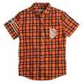San Francisco Giants MLB Wordmark Flannel Short Sleeve Shirt by Klew