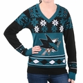 San Jose Sharks Big Logo (Women's V-Neck) NHL Ugly Sweater