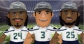 "Seattle Seahawks Super Bowl XLVIII Champs (w/Hat) 10"" Player Plush Bleacher Creatures Complete Set (3)"