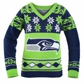 Seattle Seahawks (Women's V-Neck) NFL Ugly Sweater