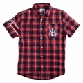 St. Louis Cardinals MLB Wordmark Flannel Short Sleeve Shirt by Klew